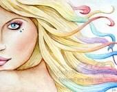 Beauty Female Art portrait ACEO Card Rainbow Hair Art Fantasy Girl Room Painting Print - Sarah Alden