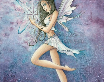 Fairy Art Print, Fantasy Print, Make A Wish Print, Blue Star Print, Star Fairy Print, Whimsical Art Print, Fairy Painting - Sarah Alden