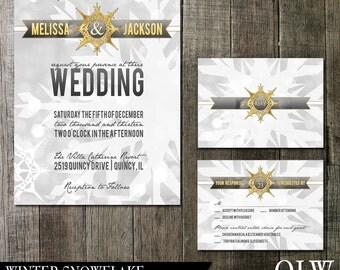 Winter Snowflake Wedding Invitation and RSVP-Digital Printables-Winter wonderland snowflake grey, white and gold design
