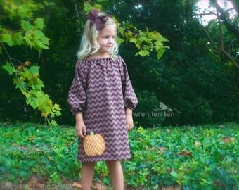 PUMPKIN DRESS ..our ever-popular brown tonal chevron dress with offset pumpkin applique..