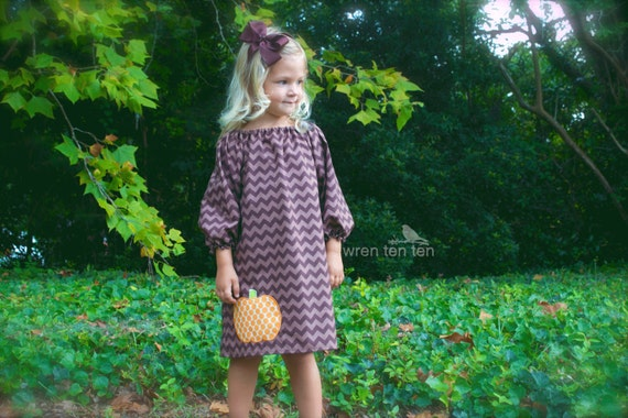 PUMPKIN DRESS ..our ever-popular brown tonal chevron dress with offset pumpkin applique..