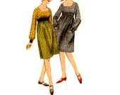 Mad Men Style Dress Butterick 60s Sewing Pattern 3636 Empire Waist Long Sleeve Square Neckline Retro Mod Fashion Bust 32