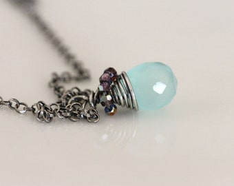 Oxidized Silver Wrapped Blue Chalcedony Necklace w / Tiny  Swarovski Crystals  - Aqua Blue Gemstone pendant -  Handmade Jewelry