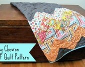 PDF Easy Baby Quilt PATTERN - Busy Chevron design