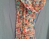 Long Ribbon Scarf with Fringe Hand Knit