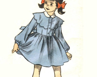 Advance 5754 Vintage 50s Lovely Little Girls Dress with Scalloped Bertha - Detachable Collar Sleeveless Option Sewing Pattern Size 6