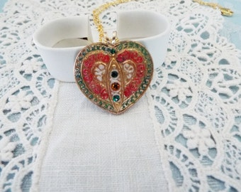 Czech Glass Button Heart, Necklace
