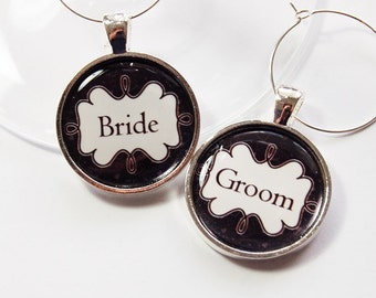 Bride Groom Charms, Wedding Wine Charms, Wine Charms, black white, Wedding Shower, Bridal Shower, table setting, silver plate (2720)