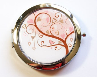 Heart Mirror, Bird Mirror, Compact mirror, Pocket mirror, mirror, Mirror for purse, Nature, flowers, pink (2773)