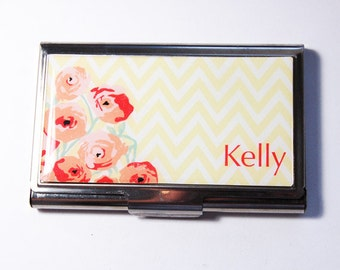 Personalized Business Card Case, Chevron, Flowers, Custom Case, Personalized, card case, business card holder (3020)