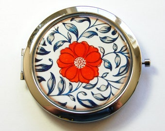 Floral mirror, Pocket mirror, compact mirror, mirror, floral design, Flower Mirror, asian flower design, blue, white, red (3064)