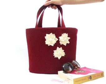 Felt tote shoulder bag, wool diaper bag, Nuno felt bag, Burgundy, Soft Felt, Flower bag