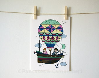 Travel in air balloon - Art print - A4 size (8 1/4 x 11 3/4)