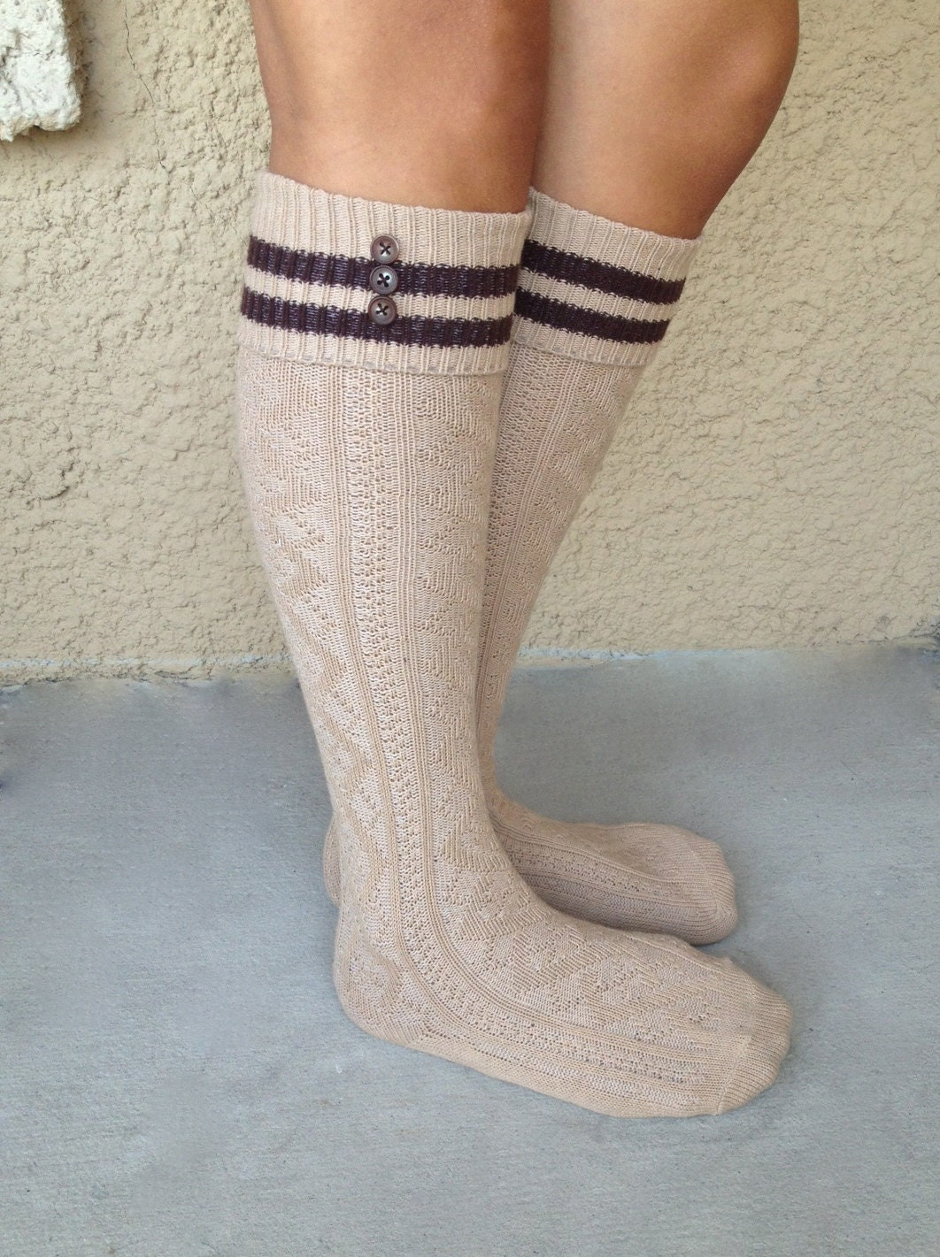 boot socks cable knit knee high with brown stripes