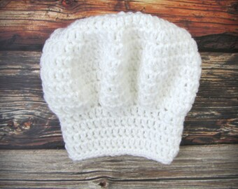 Baby Chef Hat / Chef Hat Photo Prop / Newborn Photo Prop / Crochet Chef Hat / Baby Props / Baby Hats / Baby Chef Hat / Pastry Chef Hat