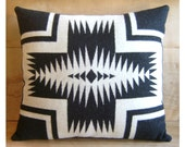 Wool Pillow - Black White Walking Rock - Native Geometric Tribal