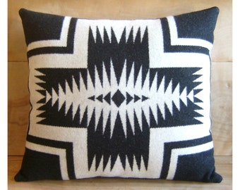 Wool Pillow - Black White Walking Rock - Boho Decor Native Geometric Tribal