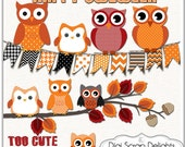 Halloween Owls Clip Art Black, Orange Houndstooth, Chevron,  Fall / Autumn Teacher,  Card Making, Crafts, Chevron Labels