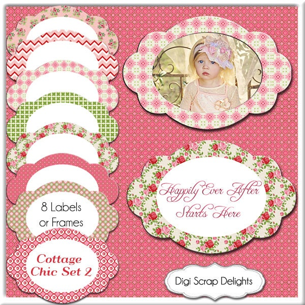 Cottage chic labels 1 shabby chic frames 8 tags clip art for Shabby chic frames diy