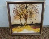 Vintage Oil Painting Autumn Fall Trees Landscape Artist Signed Impasto Framed Art No. 2
