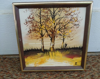 Vintage Oil Painting Autumn Fall Trees Landscape Artist Signed Impasto Framed Art No. 2