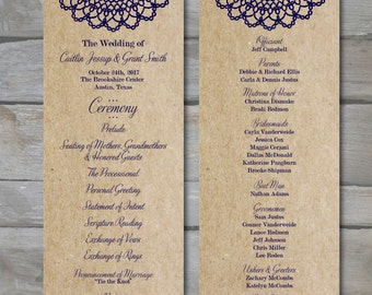 Doily Lace Wedding Program - Printable PDF