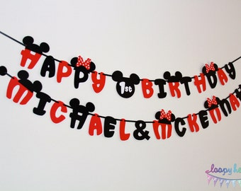 Mickey & Minnie Birthday Banner with Names
