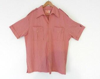 25% OFF - 70's RED HAWAIIAN Shirt - Palaka-Style / Retro Hawaiian / Red and White / Aloha / Luau / Tiki / Surf / Size xL