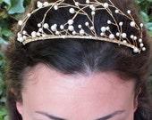 Pearl Tiara,swarovski pearl, gold bridal headdress, wedding crown, white, ivory