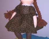 READY To Ship-16 inch Original Cloth Doll Little PRISCILLA in Brown Dress and Matching Stockings-Handmade