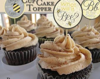 Digital file - Printable Bee Cupcake toppers