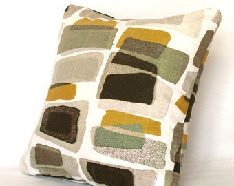 SALE Designer Throw Pillow Cover - Brown Taupe Modern Blocks, 14x14 inch Decorative Cushion Cover