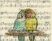 Birds Painting,Original illustration on an old music sheet , Watercolor,Wall Decor,Fine Art,Parrots,Bird Art,Love,9 x 13 inches