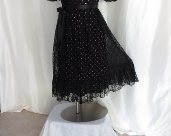 Vintage womens dress, ladies dress, party dress, black lace dress, pink polka dot dance dress, fancy dress, reception dress