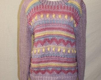 Vintage 70s Sweater - Sears - Purple - Knit Sweater - Pastel Sweater - Medium