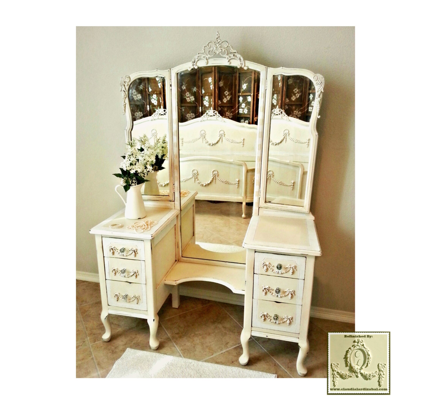 Antique Ornate 1900 S 3 Piece French Provincial Vanity