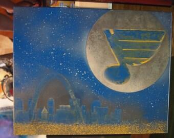 St. Louis Blues Moon spray paint on canvas