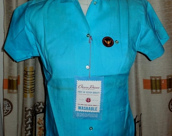 DEADSTOCK Vintage Women's 1960s Rayon Bowling Shirt Crown Prince Turquoise Unworn Rockabilly several sizes AS IS