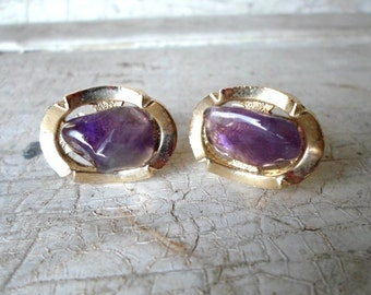 Cufflinks, Cuff Links, Vintage, Mens Cuff Links, Purple Quartz, Wedding, Groom, Mid Century, Mad Men, Retro, Mens, All Vintage Man