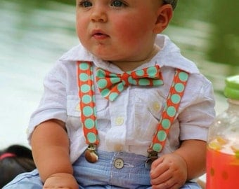 Baby or Toddler suspender and Bow Tie Set-size 3 month to 18 month or 2T-4T-CHOOSE BOW TIE--Aqua and Orange Dot-wedding