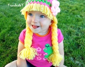 Baby Girl Beanie Wig- Pink Green Hat with Pigtails and Flower- Photoprop - YumbabY