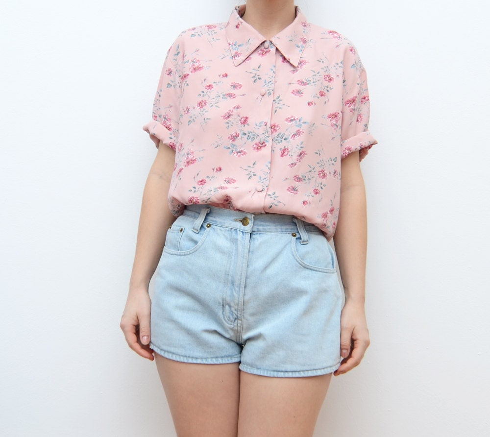 Vintage pink floral grunge 90s button up women pastel shirt for Pastel pink dress shirt
