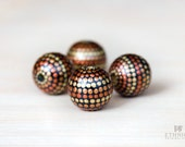 Wooden beads 20mm, hand painted round beads, dotted gold beads, large round beads, 20mm beads, wooden beads for jewelry