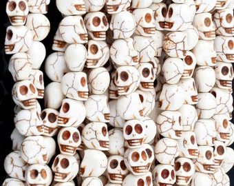 10 Skull Beads 8mm x 10mm Dyed Turquoise Stone  - Day of the Dead Rainbow Colors - Bone White