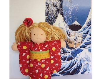 "Red doll kimono for a 15"" Waldorf inspired dolls, doll dress,Japanese fabric kimono, japanese cotton yukata kimono doll, japanese yukata"