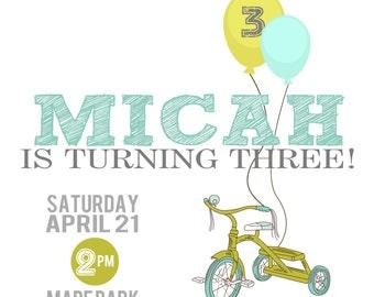 Retro Tricycle Birthday Party Printable Invitation