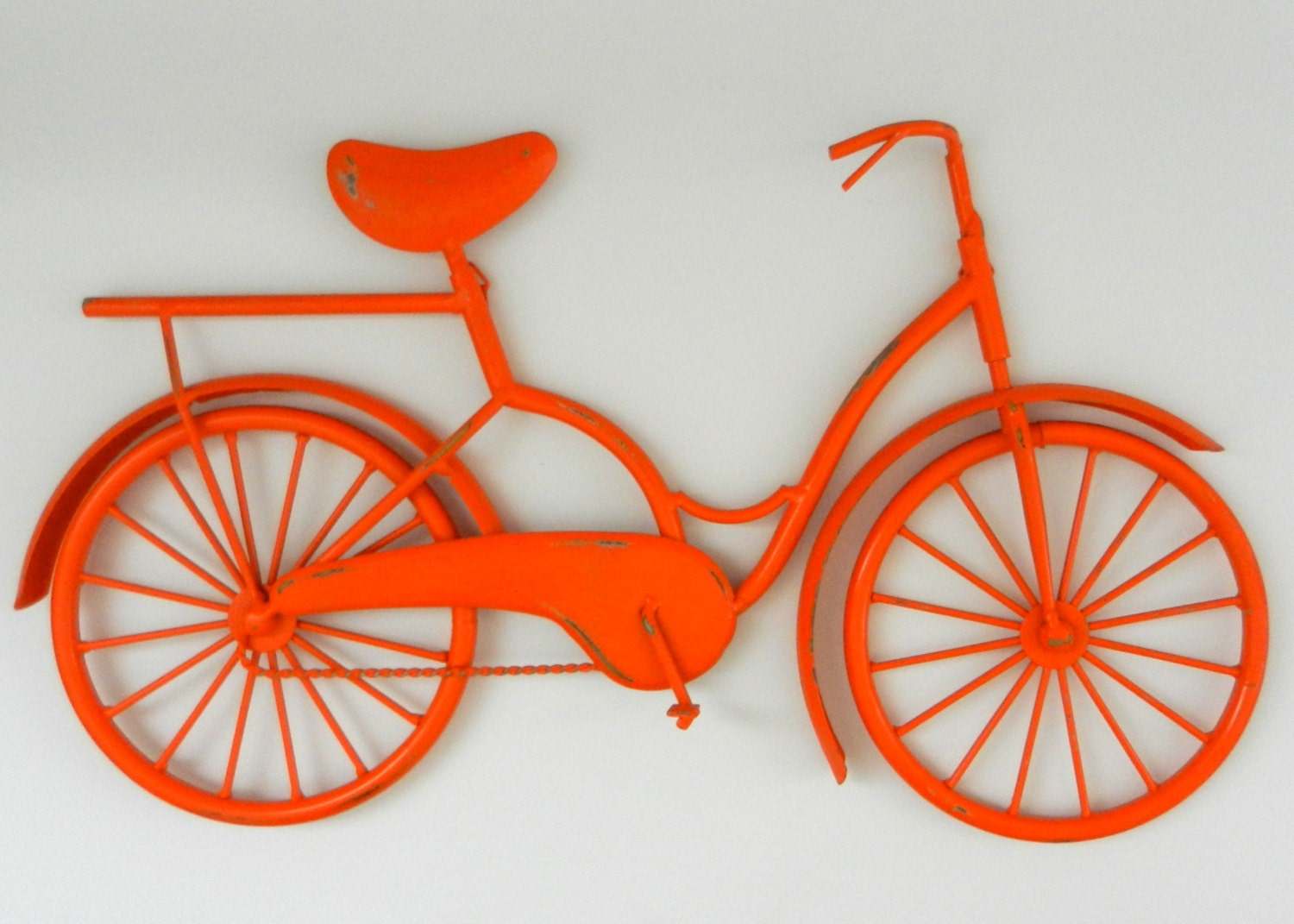Orange bicycle art retro style beach bike nursery decor Outdoor bicycle