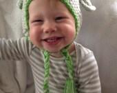 Crochet Baby Hat Boy Green Grey Dog