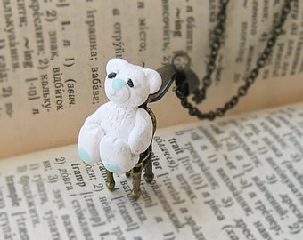 Tiny Necklace, Cute Teddy Bear on a chair,  Teddy Bear pendant, Toy jewelry, kawaii jewelry, Kids jewelry, kids gift, Cute gift