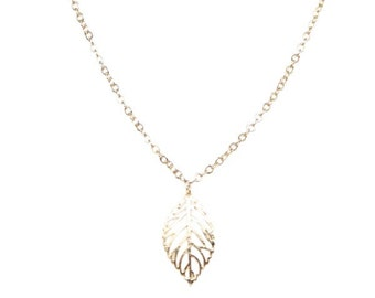 Necklace with Tiny Golden Leaf Charm
